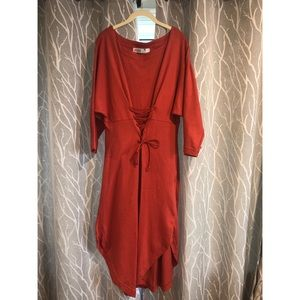 Free People  Midi Dress Size: Medium M  Orange New